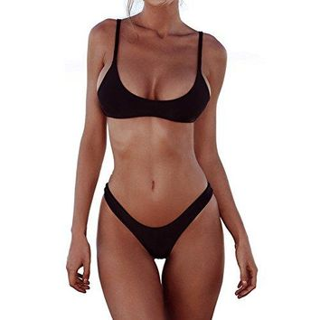 FANGUO Womens Bikini Set Swimwear Brazilian Padded Top Swimsuit Solid Color Triangle Bottom