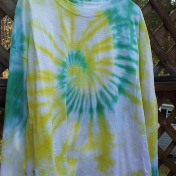 2XL Tie Dye Shirt, Long-sleeve tiedye tshirt in XXL, Plus-size Tie Dye, Big and Tall, Mens Tie dye, Hippie Boho, Retro Shirt, Gifts for dad