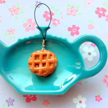 Cute waffle with white cream polymer clay charm kawaii   keychain sweets