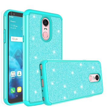 LG Stylo 4 Case, Stylo 4 Glitter Bling Heavy Duty Shock Proof Hybrid Case with [HD Screen Protector] Dual Layer Protective Phone Case Cover for LG Stylo 4 - Teal