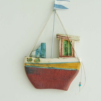 Ceramic fishing boat, wall decor ceramic boat, Greek fishing boat with blue white flag