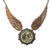 Steampunk Necklace With Stunning Detailed Wings and Victorian Setting With Swarovski Crystal By: Mechanique Steampunk