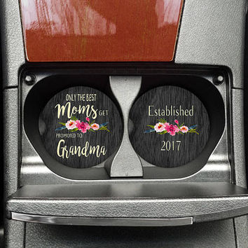 Car Coasters, Pregnancy Reveal, Baby Announcement, Car Cup Coaster, Custom Car Coaster, Grandma Gift, New Grandma Gift (CAR0001a)