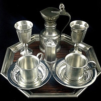 Pewter Set Gorham Serving Set Complete Tea Coffee Tray 9-Piece SILVER Vintage