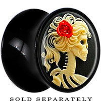 00 Gauge Black Acrylic Red Rose Skeleton Cameo Saddle Plug | Body Candy Body Jewelry