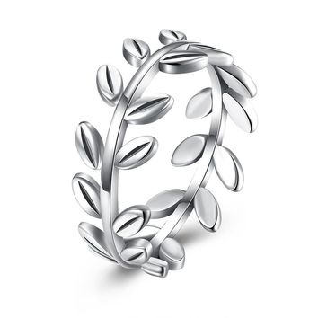 Genuine 925 Sterling Silver Fashion Jewelry Olive Branch Circle Ring Women Party Wedding Fine Luxury Jewelry Gift R156