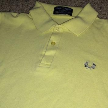 Sale!! Vintage FRED PERRY Yellow Polo Shirt Casual ska punk tee Made in ENGLAND