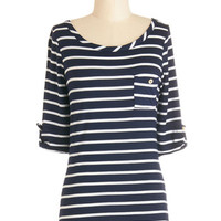 ModCloth Nautical Mid-length 3 Stripe Zone Top in Navy