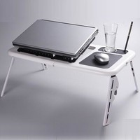 Size 1 Abs Rectangle Adjustable Monitor Mount Stand Laptop Table Black / Size 2 New Student Study Adjustable Bed Laptop Table With 2 Cooling Fans Mouse Pad