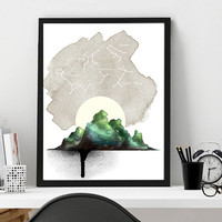 Mountain and constellation art print, home wall decor, watercolor print, constellation art, modern apartment decor