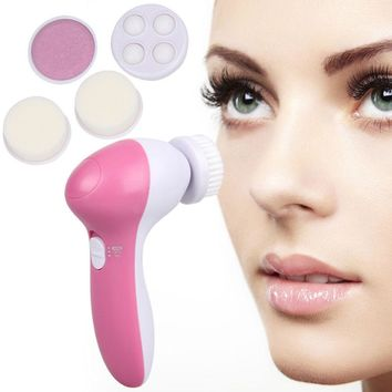 5 In 1 Electric Facial Cleanser Brush Deep Cleansing Skin Pore Blackhead Remove