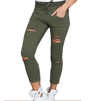 Women Denim Skinny Cut Pencil Pants High Waist Stretch Jeans Trousers Cotton Drawstring Slim Jeggings