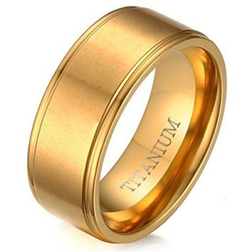 8mm Titanium Ring 18k Gold Tunnel Fashion Simple Style Wedding Engagement Promise Band Matte Finished