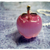 Tiny Pink Apple Charm Necklace in Fiber Optic & Sterling Silver with a Delicate 18 Inch Sterling Silver Cable Chain