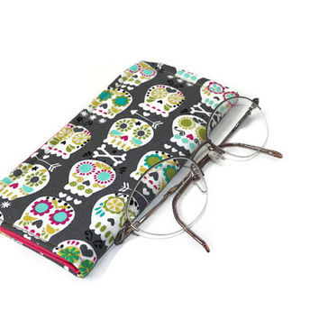 Happy Sugar Skulls on Gray Slide in Eyeglass Case