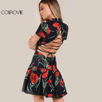 COLROVIE Fit & Flare Floral Dress 2017 Sexy Lace Up Back Women Drop Waist Summer Party Dresses New Vintage Zip Cute Ladies Dress