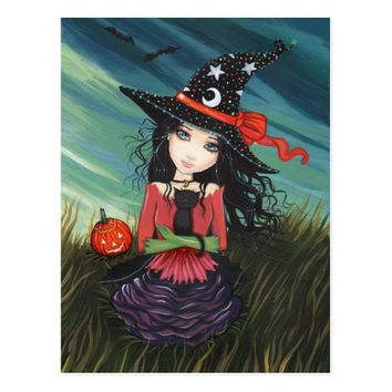 Halloween Postcard Witch Black Cat
