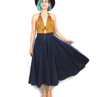 80s Navy Blue Full Skirt High Waisted Swing Skirt Retro Pinup Cotton Pockets Classic Chic Maxi Skirt (S)