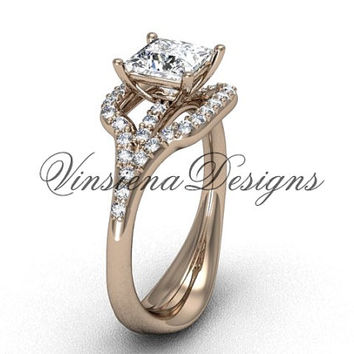 "14kt rose gold diamond  engagement ring, Princess cut ""Forever One"" Moissanite center stone VD10033"