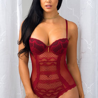 Lovely Lace Teddy Burgundy
