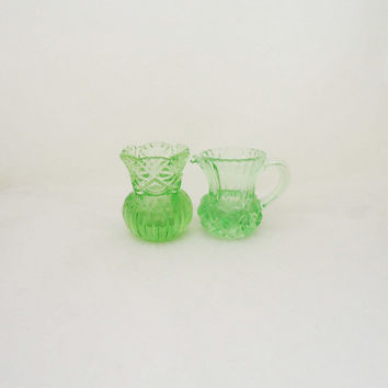 Vintage Green Glass Vase and Pitcher, Miniature Green Glass Vase and Pitcher, 1940s Vase and Pitcher