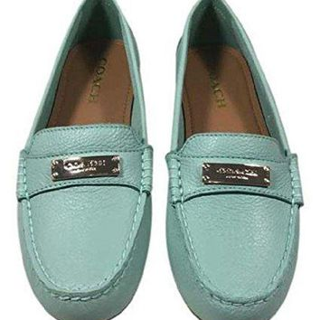 LMF3DS Coach Women's Fredrica Pebble Grain Leather Loafers Flats, Muted Pistachio