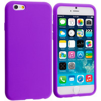 Purple / Gray Silicone Soft Skin Rubber Case Cover for Apple iPhone 6 Plus 6S Plus (5.5)