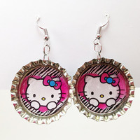 Bottle Cap Earrings Hello Kitty Love Zebra Animal Print