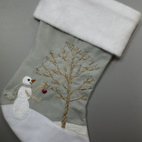 "Felt Christmas Stocking ""Christmas Spirit"" Snowman Gray Personalized"