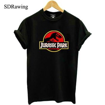 New JURASSIC PARK print cotton T shirt for Women Tops Casual Brand Graphic Tees Hipster Shirt Femme Womens Clothing plus size