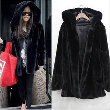 Fashion Faux Fur Coat With Hood Women's Winter Jackets S-3XL Plus Size Warm Mink Fur Coat Of Artificial Fur Casaco De Pele BF314