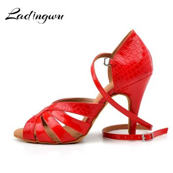 Ladingwu New Crocodile texture PU Latin Dance Shoes Salsa Woman Black/Red Soft Bottom Ballroom Dance Sandals High Heel Shoes