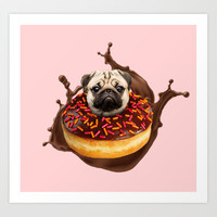 Pug Succulent Chocolate Donut Art Print by lostanaw