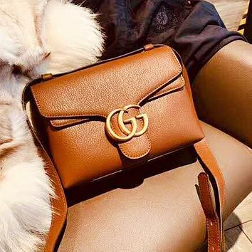 GUCCI New Fashion High Quality Leather Women Shopping Shoulder Bag Brown