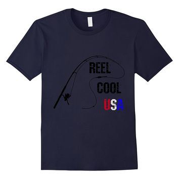 Funny Fishing 4th of July America Reel Cool USA T-shirt
