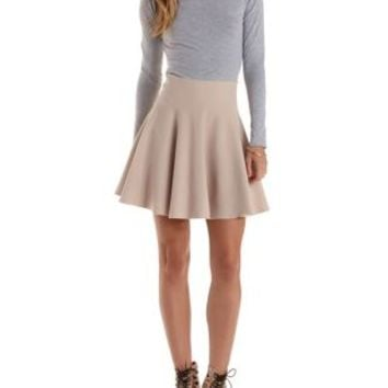 Light Taupe Sweater Knit Skater Skirt by Rehab at Charlotte Russe