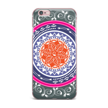 "Famenxt ""Boho Folk Colors Mandala"" Olive Multicolor Digital iPhone Case"