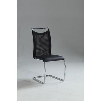 Chintaly Nadine Meshed Back Cantilever Side Chair In Black
