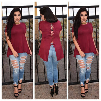 Red Lace-Up Back Short Sleeve Loose Top