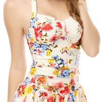One Piece Floral Ruched Halter Push Up Slim Tummy Control Tankini Swim Dress (XXX-Large, Red)