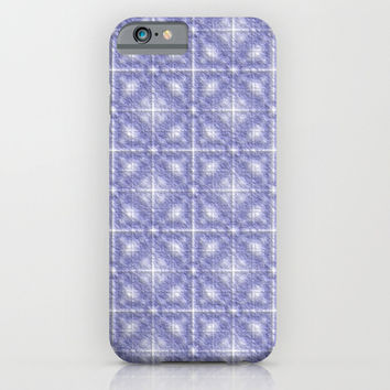 Blue Flannel fuzzy textured geometric pattern iPhone & iPod Case by YANKA