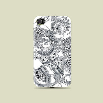 Thai Art, Ramayana Character Fight Plastic Hard Case - iphone 5 - iphone 4 - iphone 4s - Samsung S3 - Samsung S4 - Samsung Note 2