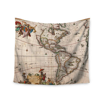 "Bruce Stanfield ""Vintage Map Of The America's "" Brown Green Wall Tapestry"
