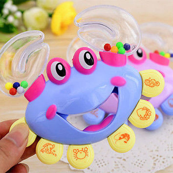 New Lovely Jingle Bell Plastic Crab Handbell Shaking Rattle Kid Musical Tool 3C&