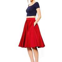Red Midi Pleated Skirt