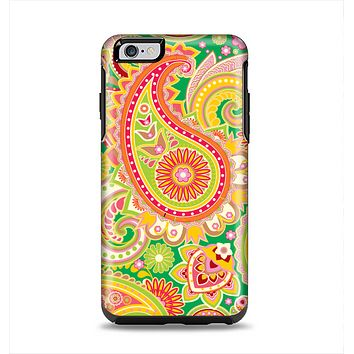 The Vibrant Green and Pink Paisley Pattern Apple iPhone 6 Plus Otterbox Symmetry Case Skin Set