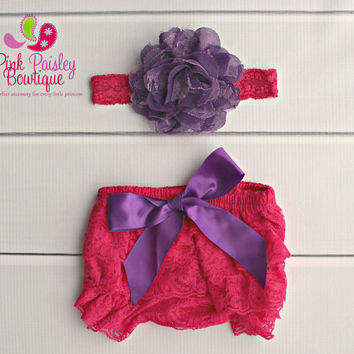 Baby Lace Bloomer Set- Newborn Headband and Bloomers- Newborn Photo Outfit- 1st Birthday Outfit- Cake smash outfit- Ruffle Baby Diaper cover