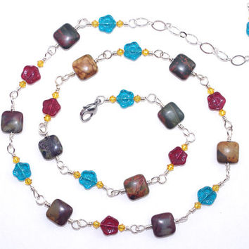 Jasper Stone Necklace – Czech Glass Flower Bead Wire Wrap Necklace – Semi Precious Stone Jewelry – Gift for Sister
