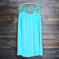caged up flowy chiffon dress in cyan blue