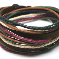 Mens Womens Real Leather and Cotton Ropes Woven Bracelet Wristband cuff bracelet friendship bracelets 456A
